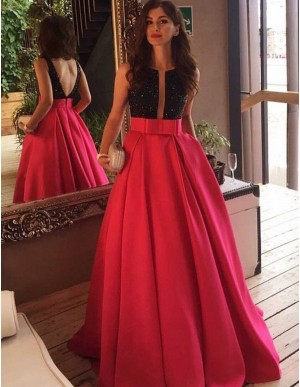 Elegant Rose Pink Crew Neck Floor Length Backless Prom Dress with Beading Bowknot