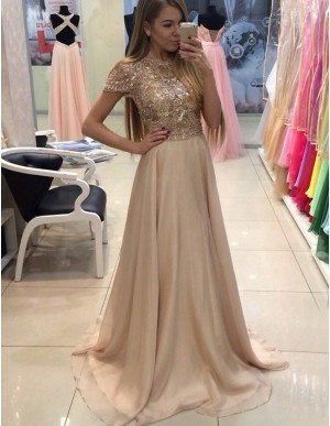 Exquisite Bateau Cap Sleeves Sweep Train Prom Dress with Beading Sequins