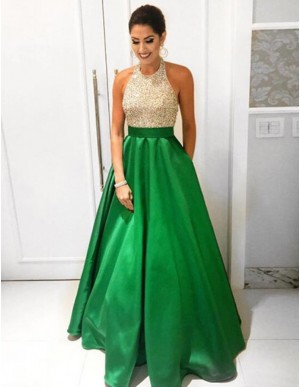 Chic High Neck Sleeveless Floor Length Prom Dress with Lace