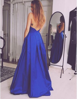 Long Simple Backless Royal Blue Prom Dress