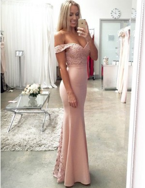 Elegant Pink Off the Shoulder Floor Length Mermaid Prom Dress with Lace