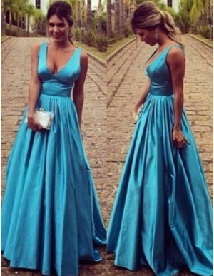 Elegant V-Neck Sleeveless Floor Length Open Back Blue Prom Dress with Pleats