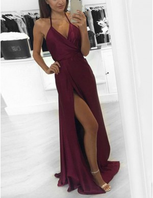 Popular Grape Halter Sleeveless Split Front Long Prom Dress