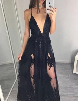 Sexy Black Deep V-neck Split Floor Length Prom Dress with Appliques Lace