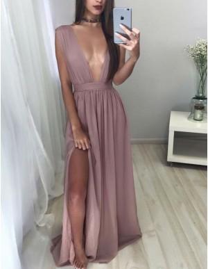 Hot Blush Deep V Neck Floor Length Pleated Prom Dress with Split