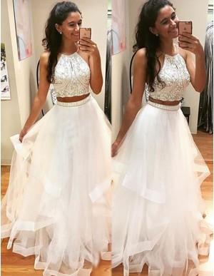 Modern Two Piece White Halter Organza Floor-length Beaded Prom Dress