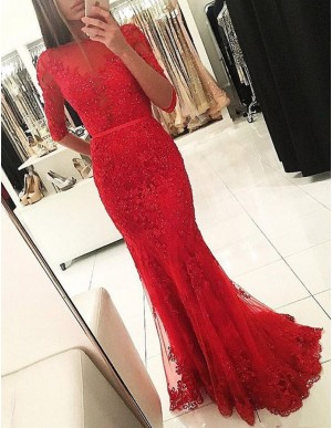 Elegant Bateau Half Sleeves Mermaid Long Red Prom Dress with Sash Beading Lace