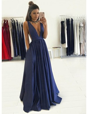 A-Line Deep V-Neck Long Royal Blue Taffeta Prom Dress with Pockets