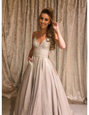 A-line Sleeveless Long Prom Dress Silver Evening Dress