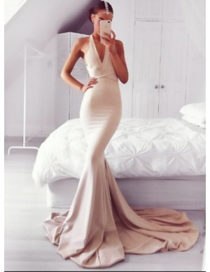 Mermaid V-Neck Court Train Blush Backless Prom Dress with Sash