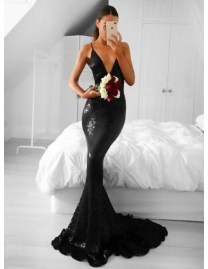Mermaid V-Neck Sweep Train Black Sequined Sleeveless Prom Dress