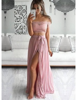 Two Piece Off-the-Shoulder Pink Chiffon Prom Dress with Lace