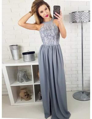 A-line Round Neck Grey Satin Prom Dress with Lace Split