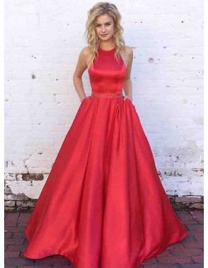 A-line Halter Sleeveless Long Red Satin Prom Dress with Beading