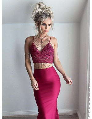 Two Piece Spaghetti Straps Floor-Length Burgundy Prom Dress with Lace