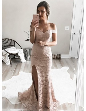 Mermaid Off-the-Shoulder Blush Lace Prom Dress with Split