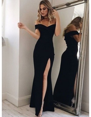 Off-the-Shoulder Long Black Prom Dress with Split Mermaid Party Dress
