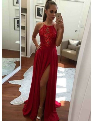 A-Line Halter Backless Floor-Length Red White Prom Dress with Appliques