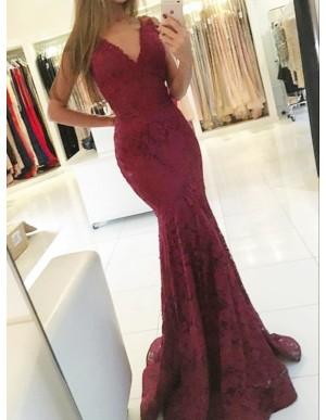 Mermaid V-Neck Sweep Train Burgundy Lace Prom Dress