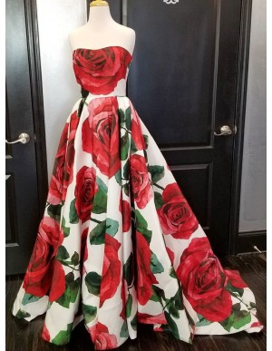 A-Line Sweetheart Sweep Train Floral Satin Prom Dress