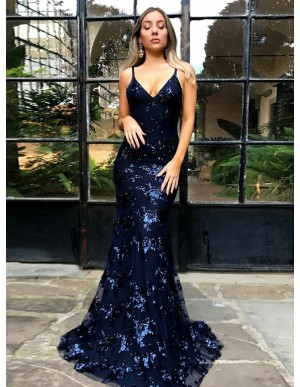 Mermaid Spaghetti Straps Sweep Train Navy Blue Prom Dress with Sequins