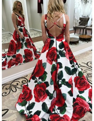 A-Line V-Neck Sweep Train Criss-Cross Straps Floral Satin Prom Dress