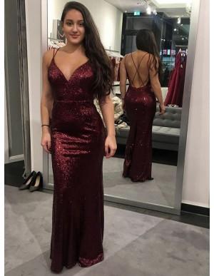 Mermaid Spaghetti Straps Long Burgundy Sequined Prom Dress