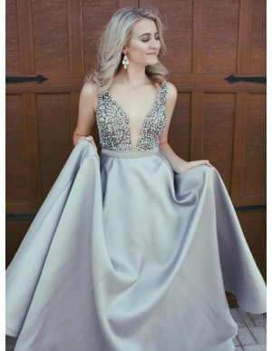 A-Line V-Neck Sweep Train Grey Prom Dress with Beading Pockets