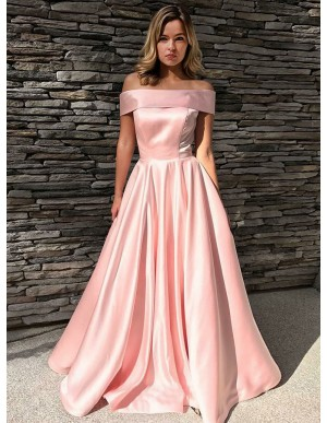A-Line Off-the-Shoulder Floor-Length Pink Satin Prom Dress
