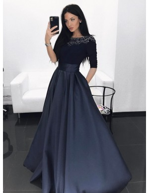 A-Line Bateau Half Sleeves Navy Blue Prom Evening Dress with Beading Pockets