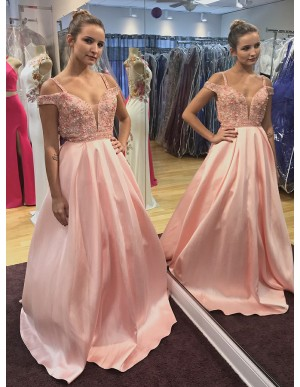 A-Line Straps Cold Shoulder Pink Long Prom Dress with Beading