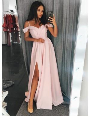 A-Line Spaghetti Straps Sweep Train Pink Prom Dress with Split