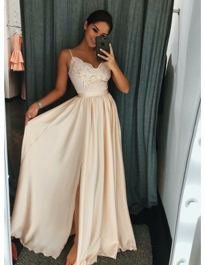 A-Line Spaghetti Straps Ivory Long Prom Dress with Appliques Split