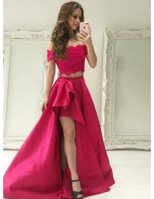 Two Piece Off-the-Shoulder Short Sleeves Fuchsia Prom Dress with Lace