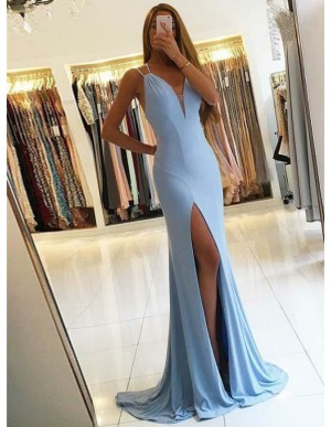 Mermaid V-Neck Light Blue Stretch Satin Prom Dress with Split