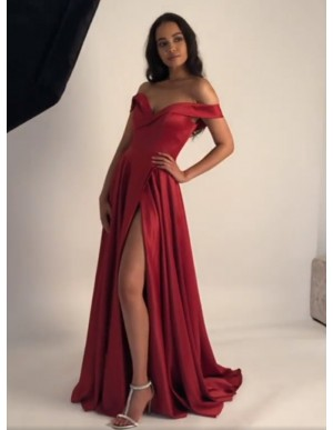 A-Line Off-the-Shoulder Dark Red Long Prom Dress with Split