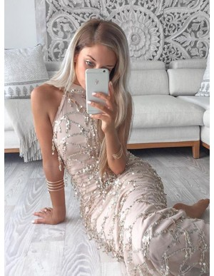 Sheath Halter Ankle-Length Champagne Lace Prom Dress with Sequins
