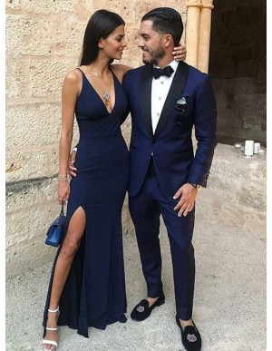 Mermaid V-Neck Navy Blue Stretch Satin Prom Dress with Split
