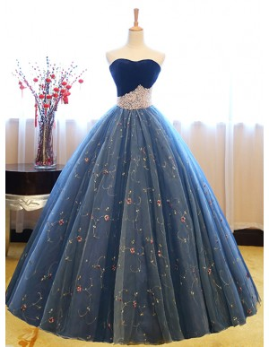 Ball Gown Sweetheart Sleeveless Blue Lace Prom Dress with Pearls