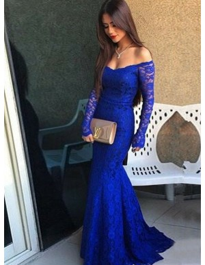 Mermaid Off-the-Shoulder Long Sleeves Sweep Train Royal Blue Lace Prom Dress