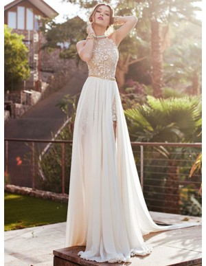 Ivory Halter Appliques Slit Chiffon Backless Sweep Train Prom Dress
