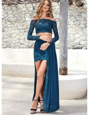 Two Piece Off the Shoulder Lace Slit Long Blue Prom Dress