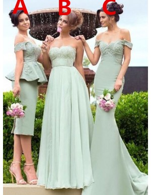 Mermaid Green Off the Shoulder Chiffon Appliqued Bridesmaid Dress