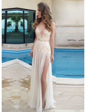 A-line Ivory Spaghetti Straps Appliques Side Split Chiffon Prom Dress