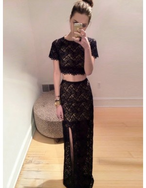 Two Piece Sheath Black Scoop Lace Short Sleeves Floor Length Prom Dress