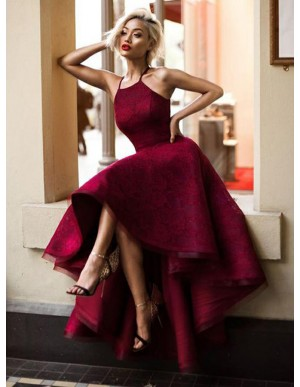 A-Line Spaghetti Straps High Low Burgundy Lace Prom Dress