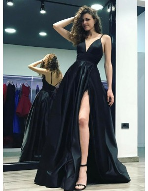 A-Line Spaghetti Straps Floor-Length Black Satin Prom Dress with Split