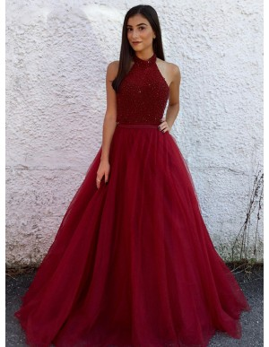 A-Line Halter Sweep Train Dark Red Tulle Prom Dress with Beading