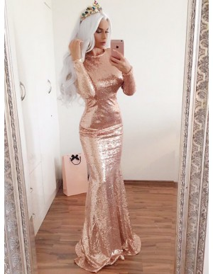 Mermaid Round Neck Open Back Rose Gold Sequin Prom Dress with Sleeves