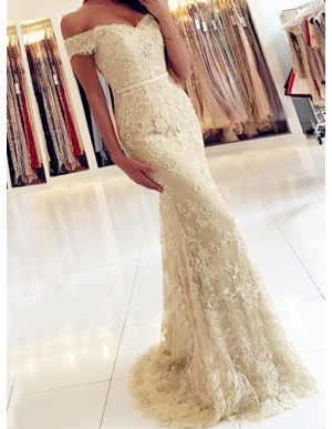 Mermaid Off the Shoulder Light Champagne Lace Prom Dress with Beading
